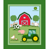 John Deere Barnyard Pigs Cows Chickens Quilt Fabric Panel