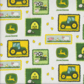 John Deere Patches Tractors Farm Cow Pig Sheep on White Quilting Fabric