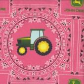 John Deere Tractors on Pink Quilting Fabric