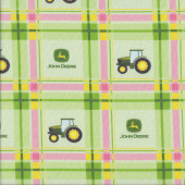 John Deere Tractors on Green Pink Plaid Farm Girls Quilting Fabric