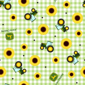 John Deere Tractors Green White Check Sunflowers Girls Quilting Fabric