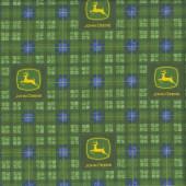John Deere Green and Blue Tartan Farm Quilting Fabric