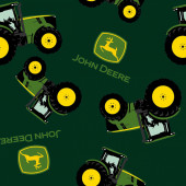John Deere Tractors on Green Boys Farm Quilting Fabric