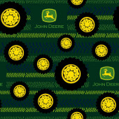 John Deere Tyre Tracks on Green Boys Farm Quilting Fabric