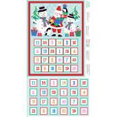 Jolly Santa Snowmen Christmas Advent Calendar Quilting Fabric Panel