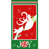 Reindeer Christmas Joy Snowflakes Quilting Fabric Panel