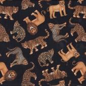 African Animals Tiger Leopard Lion Cheetah on Black Quilt Fabric