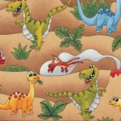 Jurassic Dinosaurs T Rex Stegosaurus Quilting Fabric