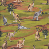 Australian Grey Brown Kangaroos Trees Wildlife Valley Quilting Fabric