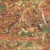 Australian Kangaroos Animals Bush Grass Trees Rocks Outback Quilt Fabric