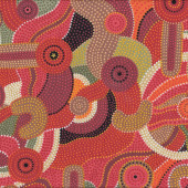 Australian Aboriginal Katoomba Red Quilt Fabric