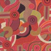 Australian Aboriginal Katoomba Red Quilt Fabric
