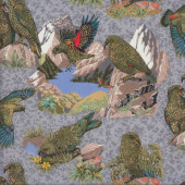 Kea Birds on Grey New Zealand Parrot Quilting Fabric