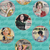 Kelloggs Breakfast Cereal Ladies in Circle Adverts Licensed Quilt Fabric