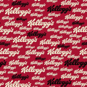 Kelloggs Breakfast Cereal Logo on Red Licensed Quilt Fabric