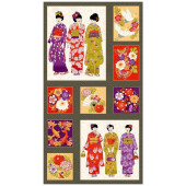 Japanese Ladies in Kimonos Geisha Koi Fish Flowers Fans Quilting Fabric Panel