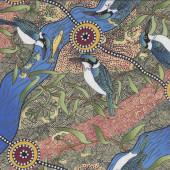 Australian Indigenous Aboriginal Kingfisher Camp Blue by Nambooka Quilting Fabric