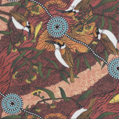 Australian Indigenous Aboriginal Kingfisher Camp Brown by Nambooka Quilting Fabric