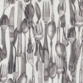 Cutlery Knife Fork Spoon on White Kiss The Cook Quilt Fabric