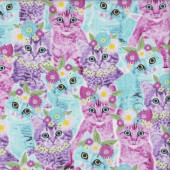 Pretty Kittens with Flowers Daisies Cats Quilting Fabric