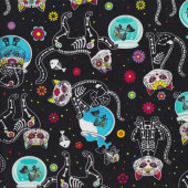 Cats Skeletons Bones Fish Bowls Quilting Fabric