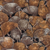 Brown Kiwi Life Like Birds New Zealand NZ Wildlife Quilt Fabric