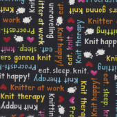 Knit Happy Knitting Words on Black Sheep Quilting Fabric