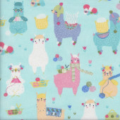 Colourful Knitting Alpacas on Aqua Blue Quilting Fabric