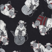 Woolly Sheep Knitting on Black Balls Quilting Fabric