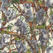 Koalas Australian Animal Gum Tree Eucalyptus Quilting Fabric