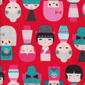 Japanese Kokeshi Dolls on Red Quilting Fabric
