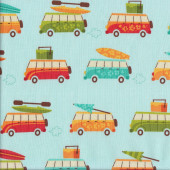 Kombi Surf Boards Surfing Blue Quilting Fabric