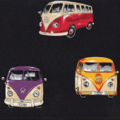 Kombi Vans Volkswagen VW Combi Car Campervans Camper Black Quilt Fabric