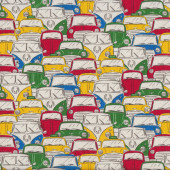 Kombi Vans Mini Volkswagen Cars Yellow Red VW Fabric