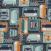 Kombi Vans on Navy Quilting Fabric