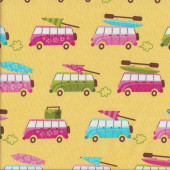 Kombi Surfing Yellow Quilting Fabric
