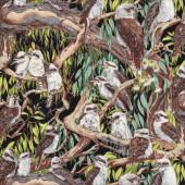 Australian Kookaburras in Gumtrees Birds Quilt Fabric