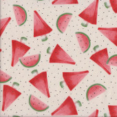 Watermelon Slices Seeds on Cream Quilting Fabric