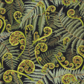 New Zealand Koru Fern Fronds on Black Quilting Fabric