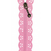 Pink Lace Zip Zipper 20cm / 8 Inches