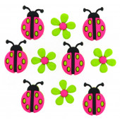 Ladybirds and Green Daisies Ladybug Girls Kids Shank Buttons