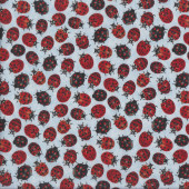 Cute Red Ladybirds Ladybugs on Light Blue Insect Quilting Fabric