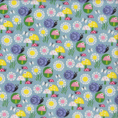 Ladybirds Butterflies Flowers Snails on Blue Quilting Fabric