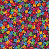 Colourful Ladybugs Quilting Fabric