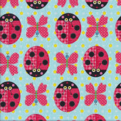 Ladybirds Butterflies Blue Quilting Fabric