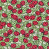 Red Ladybirds on Green Leaves Ladybugs Daisies Quilt Fabric