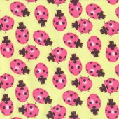 Pink Ladybirds Ladybugs Insect Quilting Fabric