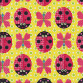 Ladybirds Butterflies Yellow Quilting Fabric