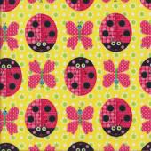 Ladybirds Butterflies Yellow Quilting Fabric