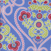 Coeur De Fleurs on Cornflower Blue LAMINATED Water Resistant Slicker Fabric
